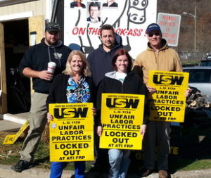 Locked out steelworkers picket infront of the ATI mill in Vander