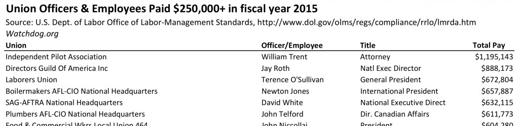 Union bosses paid 250K and up, FY15, DOL.xlsx